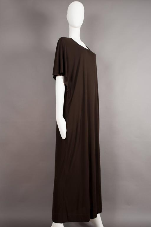 Women's Yves Saint Laurent chocolate brown silk jersey caftan, circa 1970s For Sale
