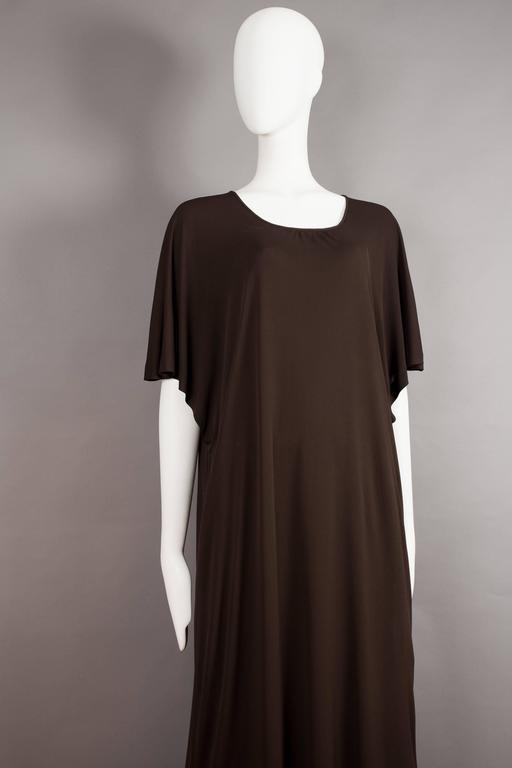 Yves Saint Laurent chocolate brown silk jersey caftan, circa 1970s For Sale 2