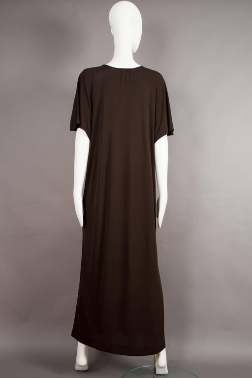 Yves Saint Laurent chocolate brown silk jersey caftan, circa 1970s For Sale 1