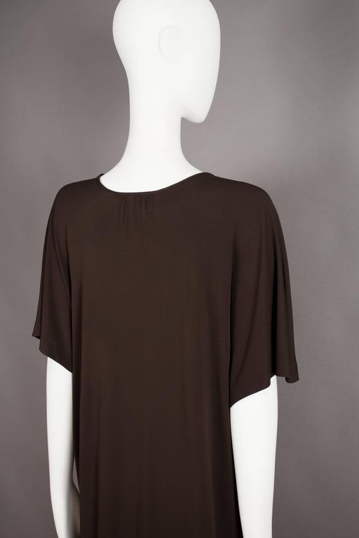 Yves Saint Laurent chocolate brown silk jersey caftan, circa 1970s For Sale 3