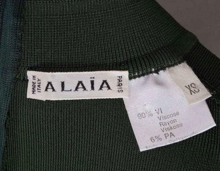 Alaia emerald green bodycon mini dress, circa 1991 For Sale 1