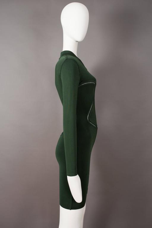 Alaia emerald green bodycon mini dress, circa 1991 For Sale 2