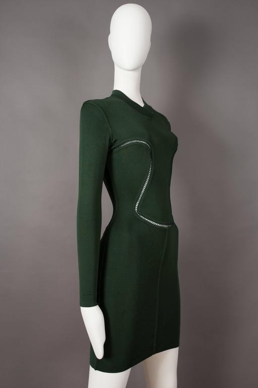 Alaia emerald green bodycon mini dress, circa 1991 In Excellent Condition For Sale In London, GB