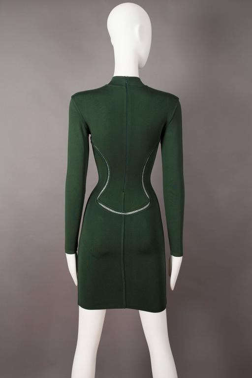 Women's Alaia emerald green bodycon mini dress, circa 1991 For Sale