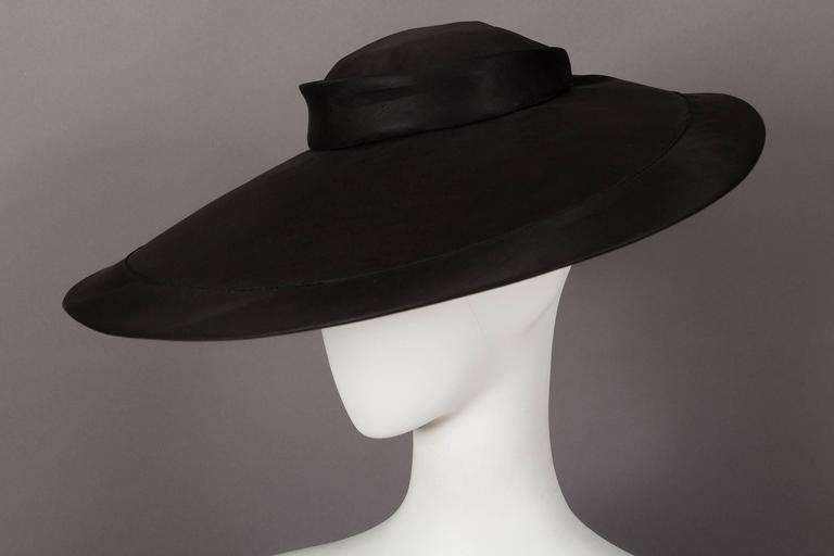 Iconic and extremely rare Christian Dior silk organza black saucer hat from  the  New Look 5dccf45cb05