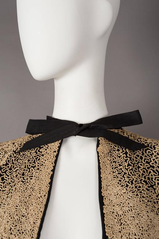 Brown Ribbon embroidered bolero evening jacket, circa 1930s For Sale