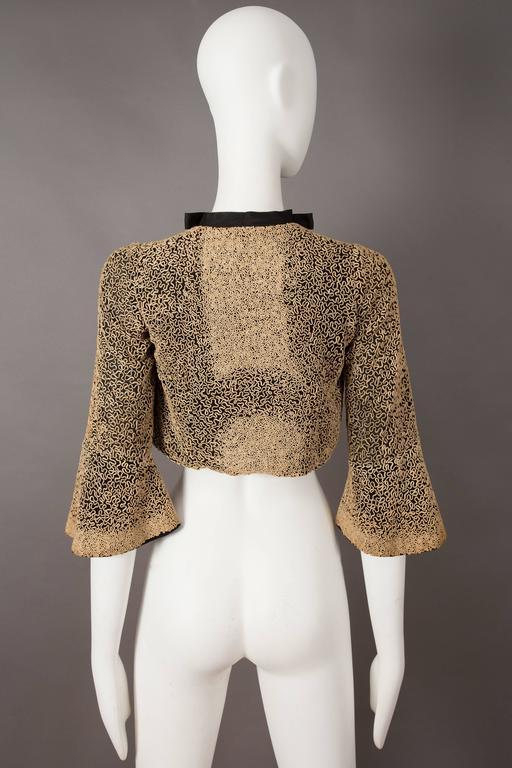 Women's Ribbon embroidered bolero evening jacket, circa 1930s For Sale