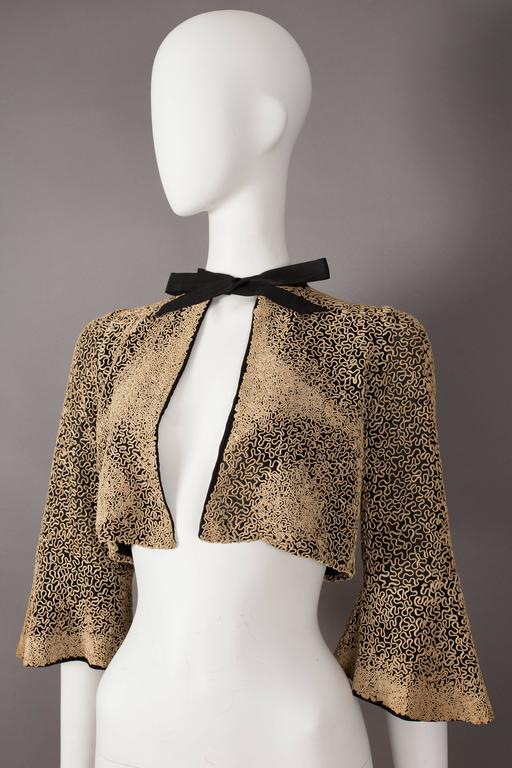 Ribbon embroidered bolero evening jacket, circa 1930s In Good Condition For Sale In London, GB