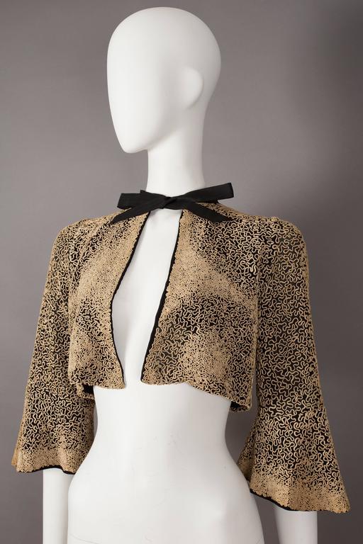 Ribbon embroidered bolero evening jacket, circa 1930s 4