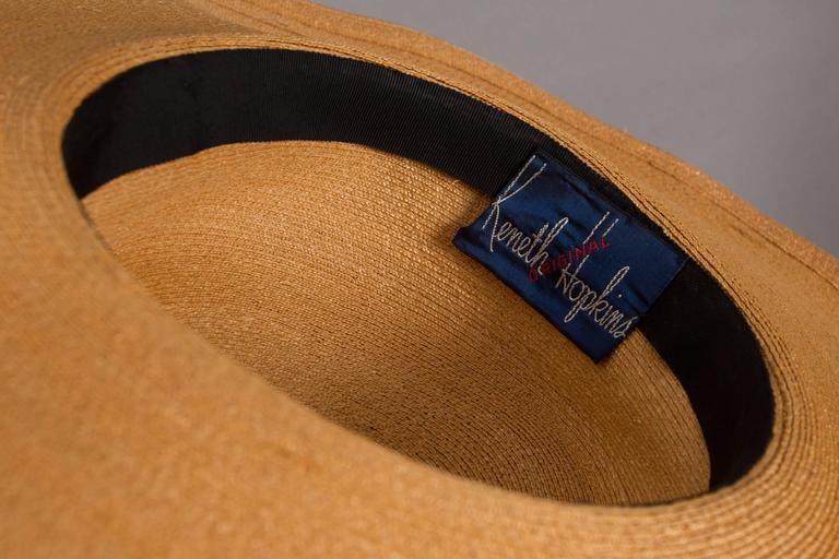 Keneth Hopkins wide brim straw sunhat, circa 1940s For Sale 3