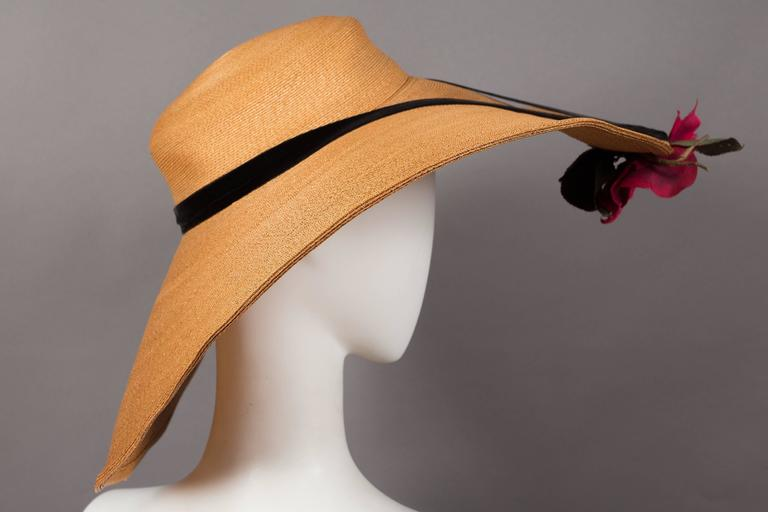 Keneth Hopkins wide brim straw sunhat, circa 1940s In Excellent Condition For Sale In London, GB