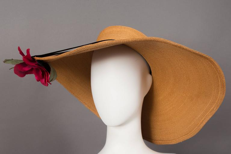 Women's Keneth Hopkins wide brim straw sunhat, circa 1940s For Sale
