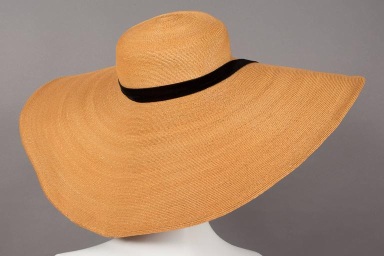 Keneth Hopkins wide brim straw sunhat, circa 1940s For Sale 1