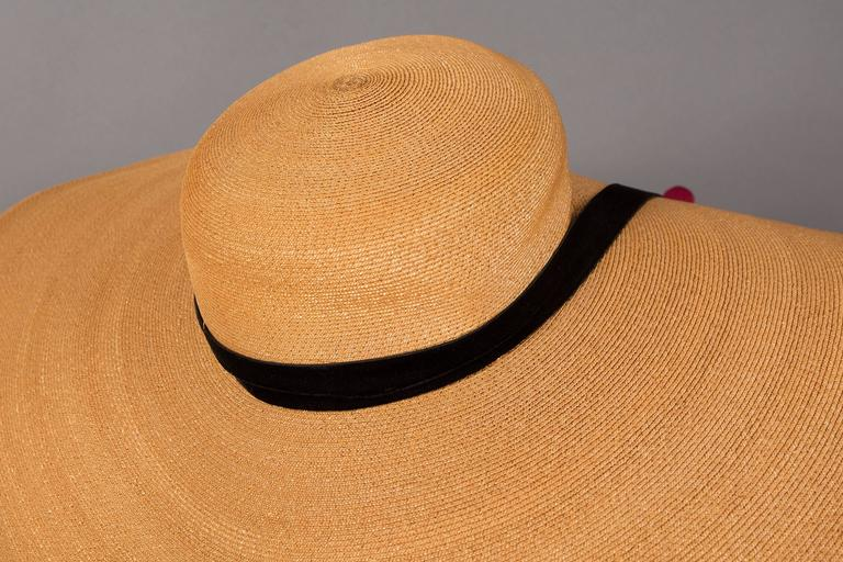 Keneth Hopkins wide brim straw sunhat, circa 1940s For Sale 2