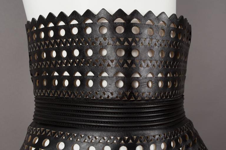Alaia black laser cut leather corset, circa 1992 4