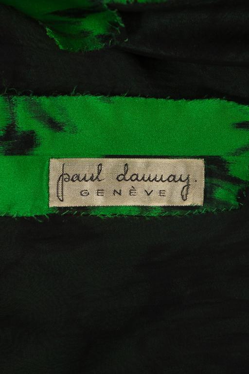 Paul Daunay drop waist silk cocktail dress, circa 1952-57 For Sale 3