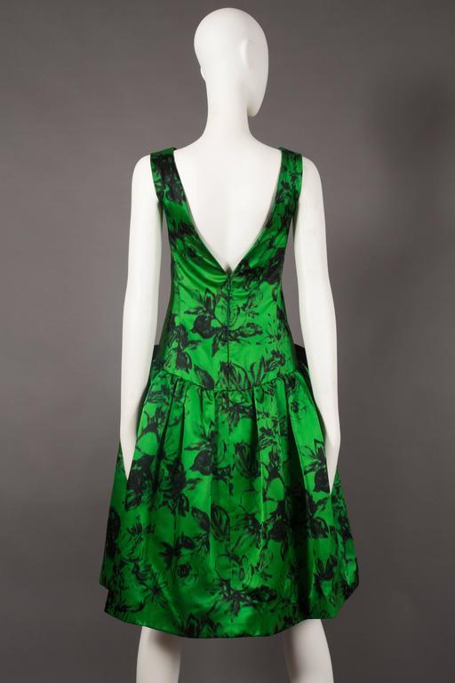 Paul Daunay drop waist silk cocktail dress, circa 1952-57 For Sale 1