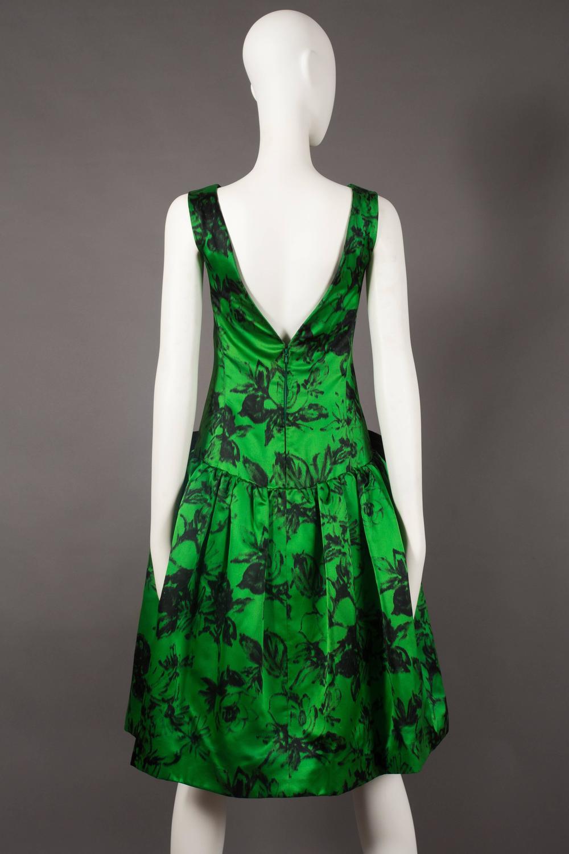 Paul Daunay Drop Waist Silk Cocktail Dress Circa 1952 57