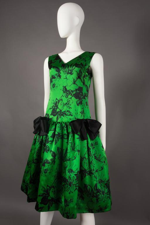 Green Paul Daunay drop waist silk cocktail dress, circa 1952-57 For Sale