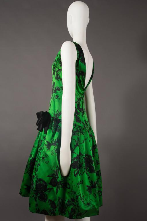 Women's Paul Daunay drop waist silk cocktail dress, circa 1952-57 For Sale
