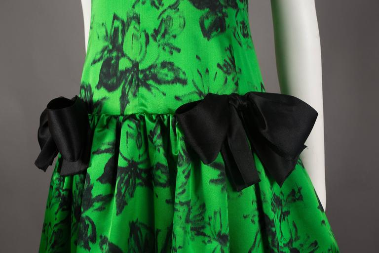 Paul Daunay drop waist silk cocktail dress, circa 1952-57 For Sale 2