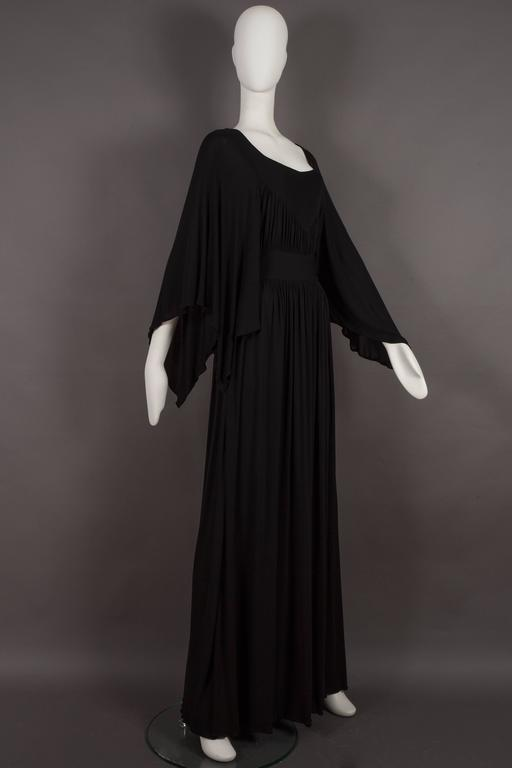 Black Quorum by Ossie Clark pleated jersey evening gown, circa 1965-68 For Sale