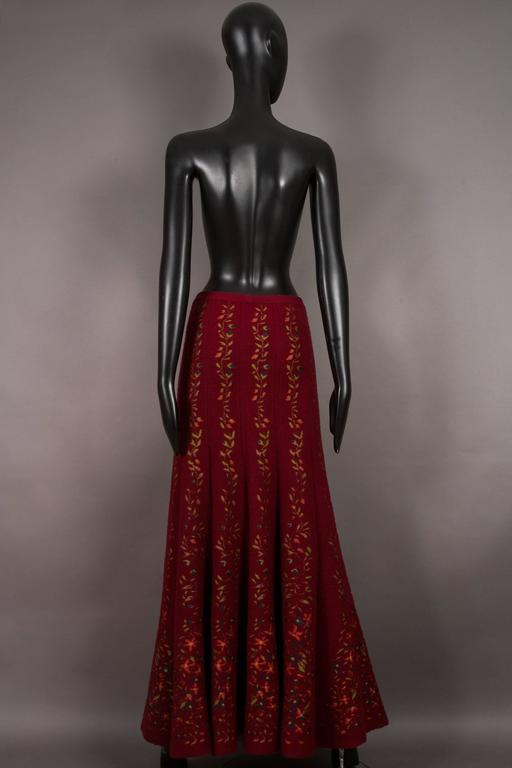 Alaia rouge embroidered knitted skirt, circa 1999 For Sale 1