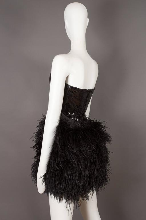 Lillie Rubin strapless ostrich feather sequinned mini dress, circa late 1970s 5