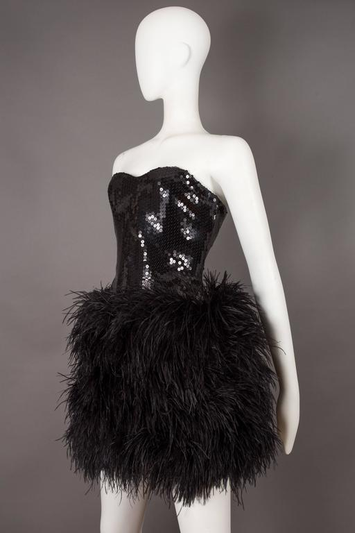 Lillie Rubin strapless ostrich feather sequinned mini dress, circa late 1970s 3