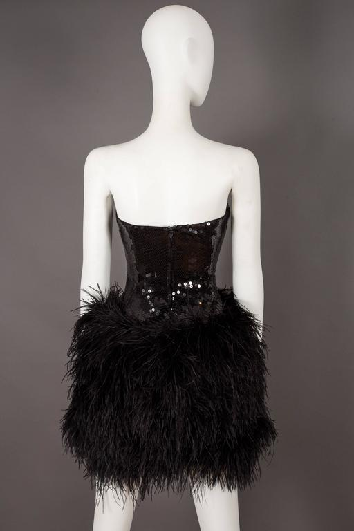 Lillie Rubin strapless ostrich feather sequinned mini dress, circa late 1970s 6