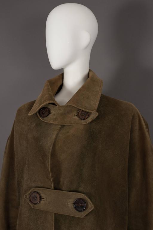 Yves Saint Laurent Haute Couture Oversized Suede Coat, circa 1963 In Fair Condition For Sale In London, GB