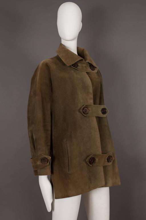 Extremely rare and important haute couture Yves Saint Laurent oversized suede coat from the autumn-winter 1963-64 'Chasuble and Cuissarde Boots Collection'.