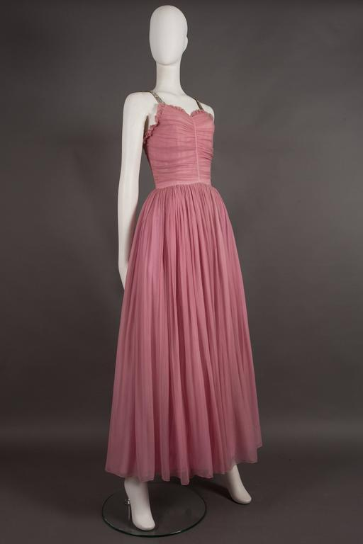Women's Couture baby pink silk chiffon evening gown with rhinestones, circa early 1940s  For Sale