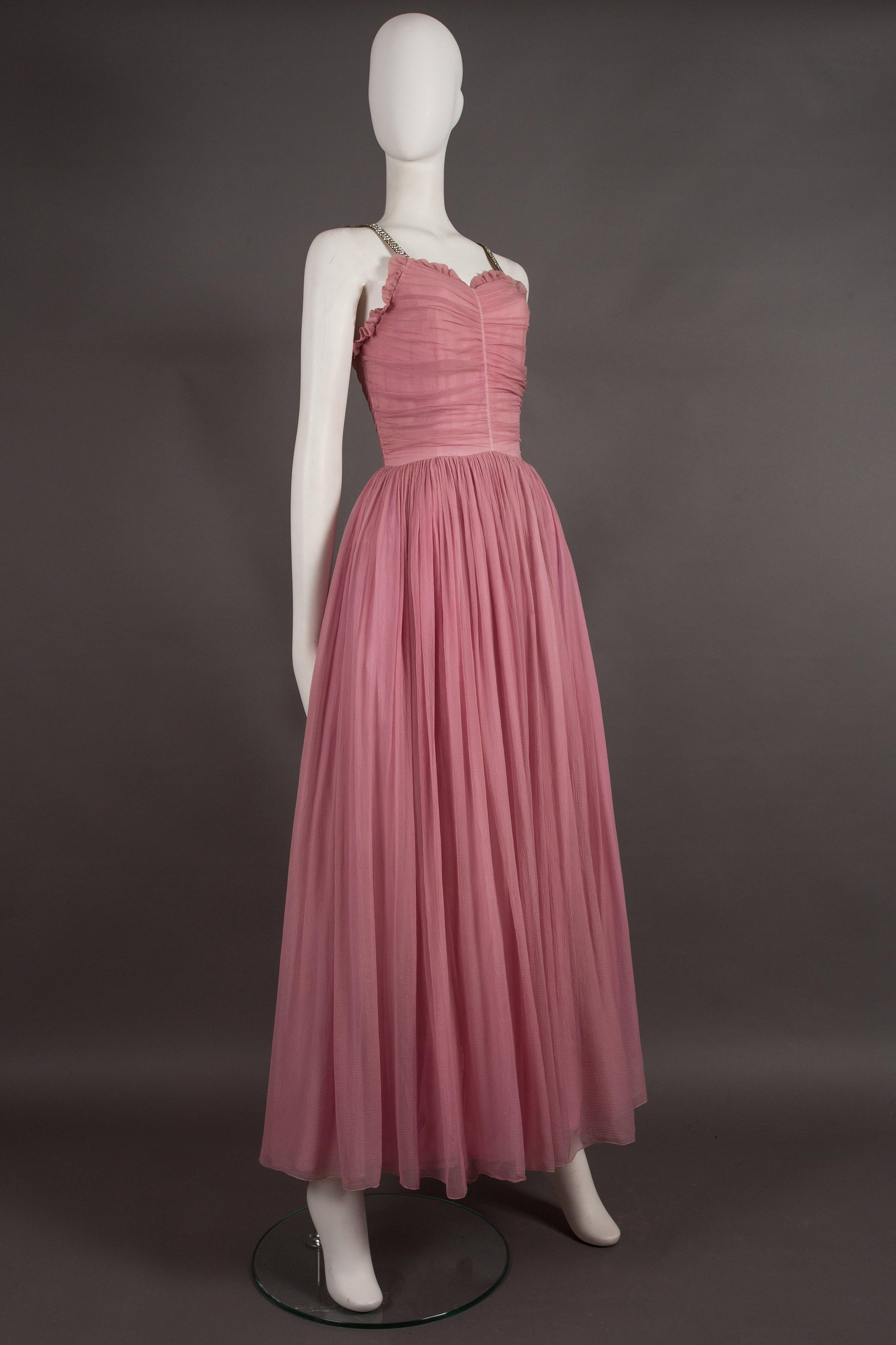 Couture baby pink silk chiffon evening gown with rhinestones, circa ...
