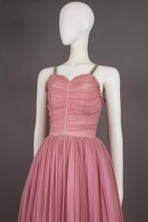 Pink Couture baby pink silk chiffon evening gown with rhinestones, circa early 1940s  For Sale