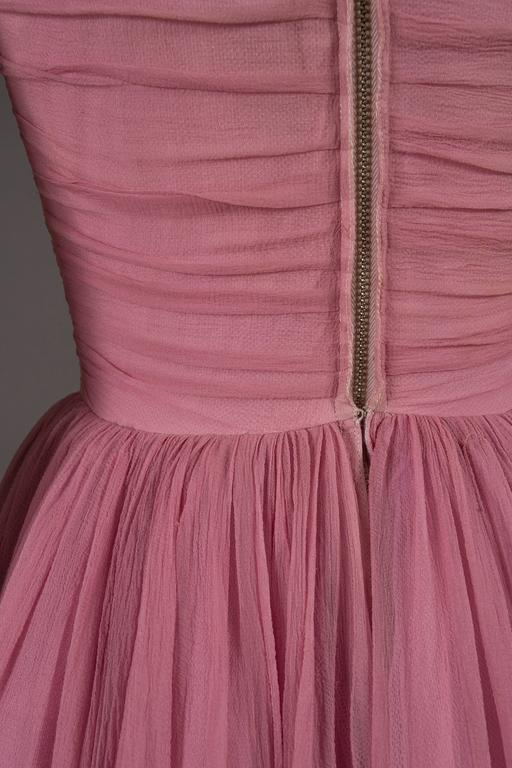 Couture baby pink silk chiffon evening gown with rhinestones, circa early 1940s  For Sale 5
