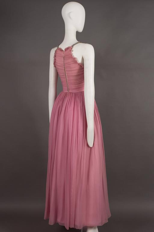 Couture baby pink silk chiffon evening gown with rhinestones, circa early 1940s  For Sale 4