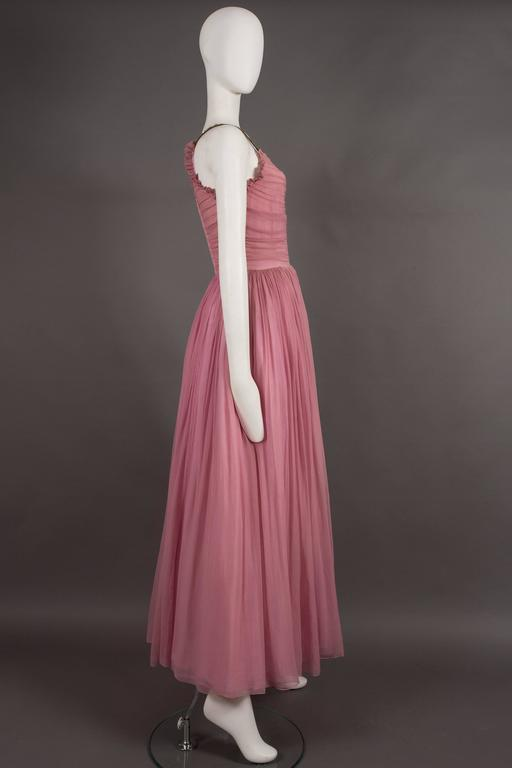 Couture baby pink silk chiffon evening gown with rhinestones, circa early 1940s  For Sale 2