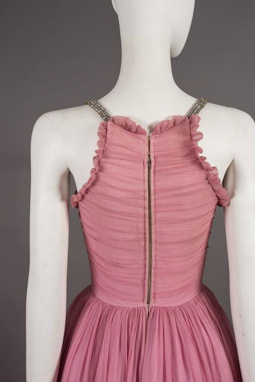 Couture baby pink silk chiffon evening gown with rhinestones, circa early 1940s  For Sale 1