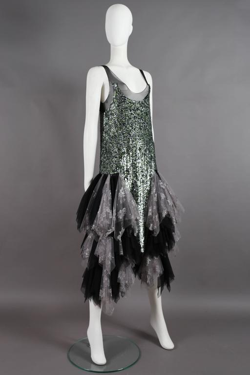 Black Alexander McQueen sequined flapper dress with tulle skirt, circa 2001 For Sale