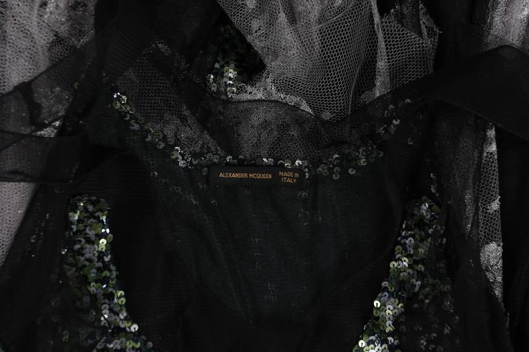 Alexander McQueen sequined flapper dress with tulle skirt, circa 2001 For Sale 4
