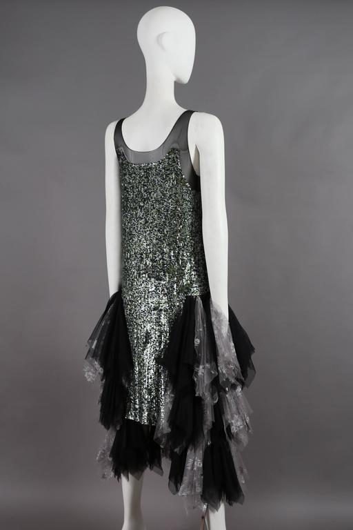 Alexander McQueen sequined flapper dress with tulle skirt, circa 2001 For Sale 3