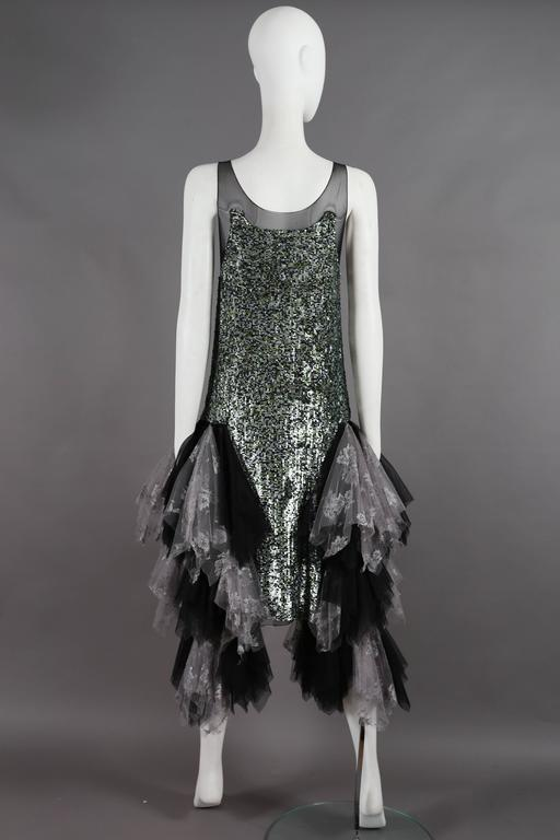 Alexander McQueen sequined flapper dress with tulle skirt, circa 2001 For Sale 1