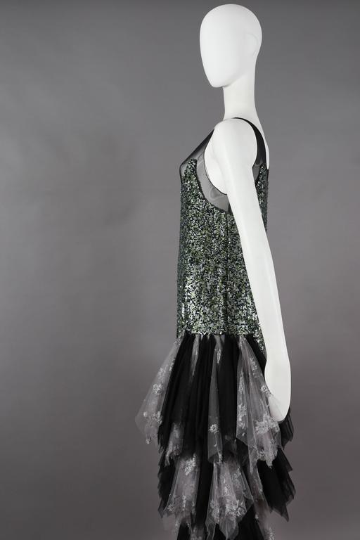 Women's Alexander McQueen sequined flapper dress with tulle skirt, circa 2001 For Sale