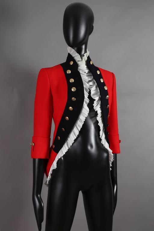 Alexander McQueen red matador style jacket, circa 2008 In Excellent Condition For Sale In London, GB