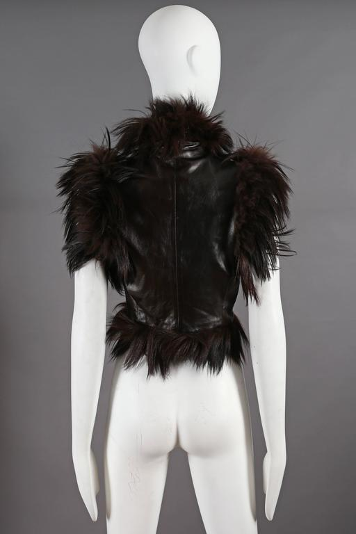 Alexander McQueen goat hair and leather gillet jacket, circa 2000 7