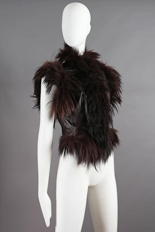 Alexander McQueen goat hair and leather gillet jacket, circa 2000 3