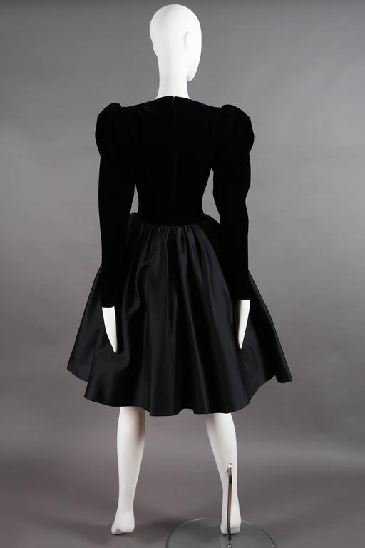 Yves Saint Laurent Haute Couture black velvet cocktail dress, circa 1981 For Sale 1