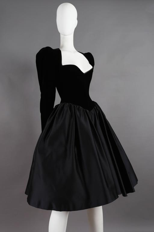 Black Yves Saint Laurent Haute Couture black velvet cocktail dress, circa 1981 For Sale