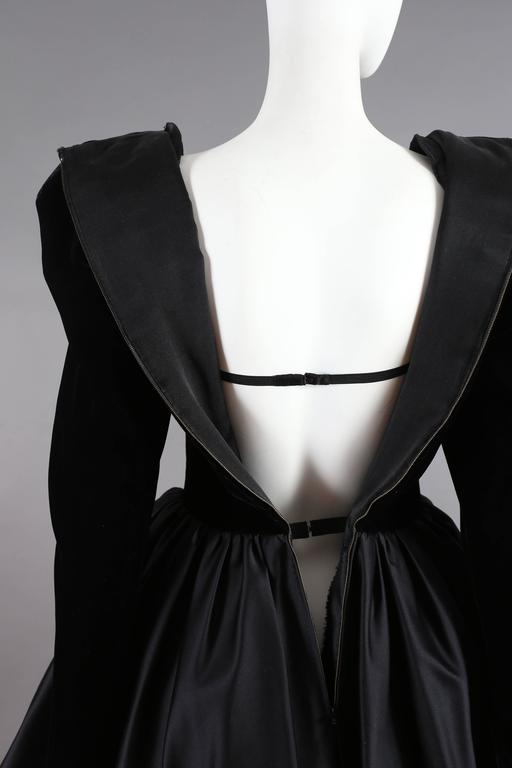 Yves Saint Laurent Haute Couture black velvet cocktail dress, circa 1981 For Sale 2